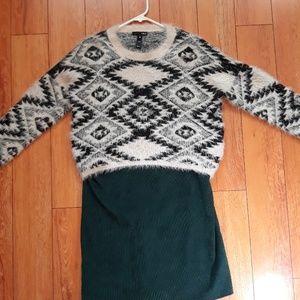 Zebra printed sweater and green dress